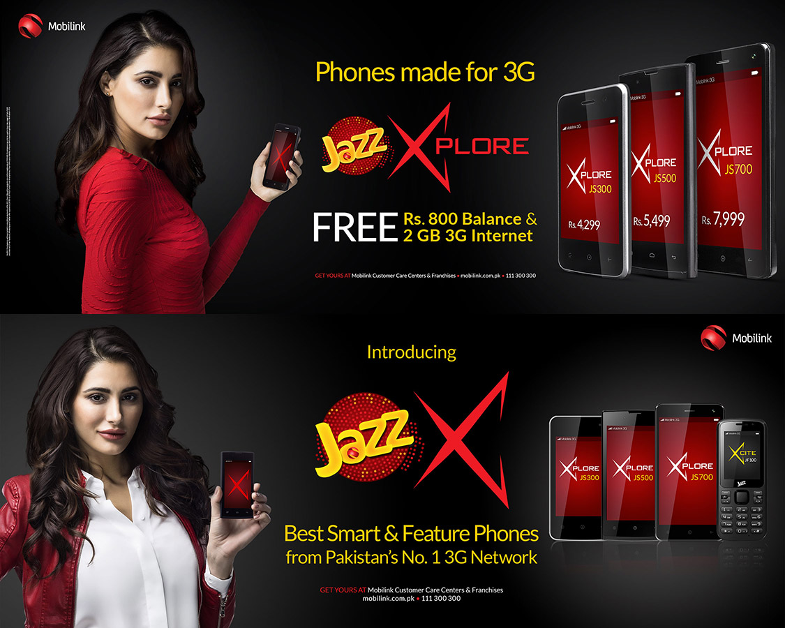 mobilink Jazz X Nargis telecom pakistan website billboards