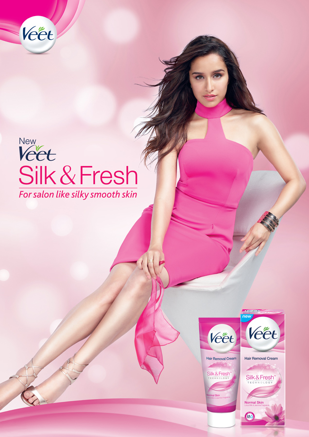 Veet India advertising campaign for India with Shraddha Kapoor website billboards